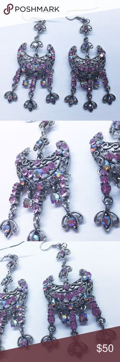 3 Tassel Moon Shape Crystal Iridescent Earrings Gorgeous to dress up with a gown or on a night out with a matching pink clutch and heels. Jewelry Earrings