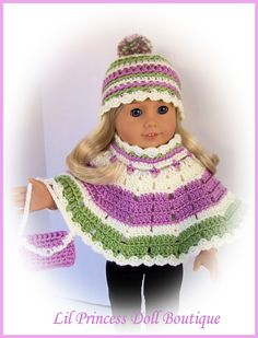 Fits American Girl Dolls, Crochet 3 Pc Poncho, Hat, Purse Set, Beautiful Colors...Handmade. $16.00, via Etsy.