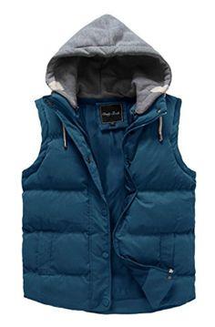 ed765d6ae Cloudy Arch Women s Winter Outwear Vest Detachable Hood Waistcoat (Blue