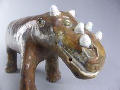AMUSANTE SCULPTURE TRICERATOPS AUX 6 CORNES F. JORIS ARTISTE ART NAIF POTERIE | eBay