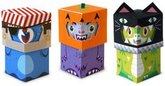 FREE printable trick-or-treat paper toys for halloween