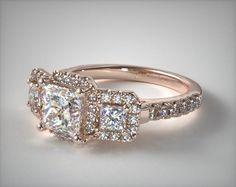 engagement rings, three stone, 14k rose gold princess shape pave halo engagement ring item 55446 - Mobile