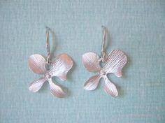 Single Silver Orchid Flower Necklace by JulianaWJewelry on Etsy