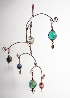 Mobile Stairs Mix hanging mobile wire art by karensanders on Etsy Wire Wrapped Jewelry, Wire Jewelry, Beaded Jewelry, Jewelery, Wire Bracelets, Wire Rings, Copper Jewelry, Handmade Jewelry, Mobiles
