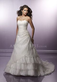 Lace up A line Strapless Organza Floor Length Sleeveless Wedding Dress