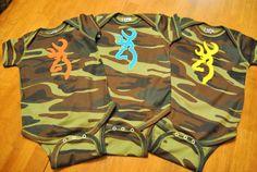 Camo Tshirt romper or onesie with buck by SimplieGirlieDesigns, $20.00