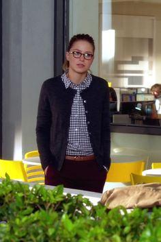 Kara Danvers / Supergirl wearing Kate Spade Tiny Hudson Vachetta Leather Strap Watch, L.A. Eyeworks Dap Frames in Tortoise, Ann Taylor Petite Ann Cardigan, J. Crew Boy Shirt in Mini Gingham