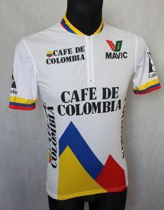 68fcc3fdc Men s Vintage CAFE DE COLOMBIA MAVIC Cycling Jersey Shirt sz M Medium