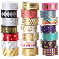 Ieebee - Juego de 21 rollos de cinta adhesiva decorativa para manualidades, 15 mm de ancho, color dorado