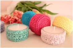 A mini pattern for maxi tea lights - Knitting for Beginners How To Start Knitting, Knitting For Beginners, Beginner Crochet, A Christmas Story, Christmas Fun, Maxi Tee, Wire Jewelry Patterns, Accessoires Barbie, Floral Hoops