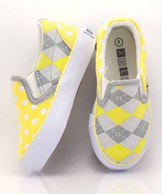 Take a look at this Yellow & Gray Sunny Slip-On Sneaker - Kids by XOLO Shoes on #zulily today!