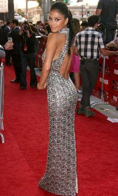 Nicole Scherzinger.  Love the dress and hair!
