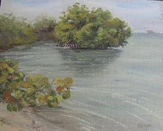 "Bear Cut Mangrove and Seagrape by Linda Apriletti Oil ~ 8"" x 10"""