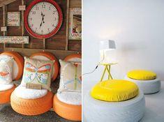 DIY Möbel orange lack Autoreifen weiß hocker