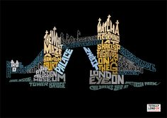 By Oscar Wilson Tower Bridge for the Totally London tourism advertisements.  Caligram created using handmade techniques and most likely digital software like Illustrator. I have selected this piece of work because I like the contrasting colours and it inspires me to create my own landmark caligram