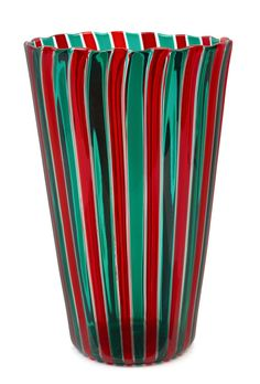 "VENINI Canne Murano glass vase with red, green and clear canes, circa 1997, engraved ""Venini, '97"", with original circular label… / MAD on Collections - Browse and find over 10,000 categories of collectables from around the world - antiques, stamps, coins, memorabilia, art, bottles, jewellery, furniture, medals, toys and more at madoncollections.com. Free to view - Free to Register - Visit today. #Glass #DecorativeArts #MADonCollections #MADonC Murano Glass Vase, Canes, Art Decor, Home Decor, Red Green, Auction, The Originals, Antiques, Bottles"