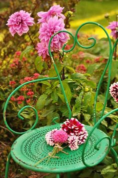 Vintage green garden chair