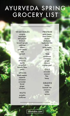 Ayurveda Spring Grocery List from livemukta.com