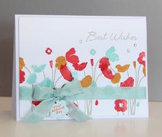 Handmade garden best wishes card created by Michelle and also displayed on the ColourQ blog. Very eye-catching and colorful.