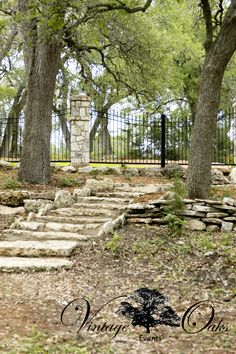 Outdoor wedding venue with big oak trees and steps made from stones found in the Cibolo Creek. A beautiful event center serving the south Texas area. Vintage Oaks Events www.vintageoaksevents.com
