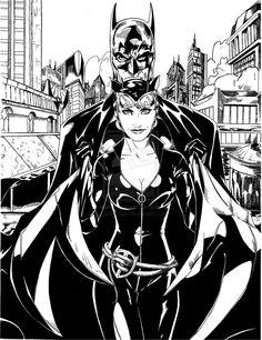 Batman & Catwoman Pencils by Andrew Wilson. Inks by me. Batman and Catwoman Catwoman Comic, Batman And Catwoman, Batman Art, Dc Comics, Batman Comics, Batwoman, Batgirl, Catwoman Selina Kyle, Batman Poster