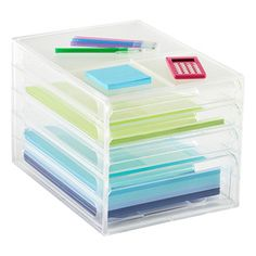 Our 4-Drawer Desktop Paper Organizer keeps paperwork and stationery at your fingertips while maintaing order on your work surface. The drawers are secure, so you won't accidentally send contents sliding everywhere by pulling it open too quickly. An added bonus is the sectioned top, which helps you keep notepads, clips and other office supplies sorted neatly.