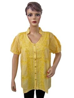 Summer Wear Peasant Tops Embroidered Shirt Yellow Women Cotton Blouses Large Size Mogul Interior. $14.99. Save 53% Off!