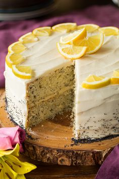 A dreamy, brightly flavored lemony cake that's laced with flecks of poppy seeds and topped with a rich cream cheese frosting.