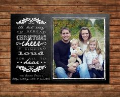 "Printable Chalkboard Christmas Card: Photo Card, The movie Elf quote ""Cheer"""