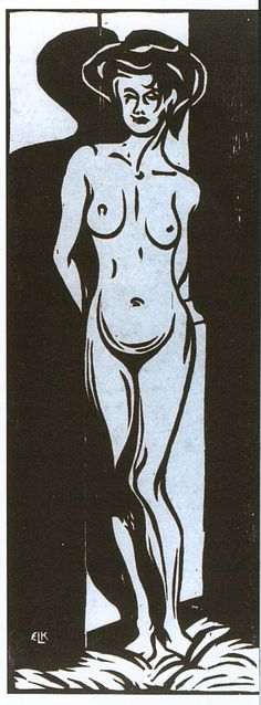 Ernst Ludwig Kirchner, Nude Young Woman in Front of an Oven, 1905 - Woodcut