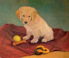 Golden Retriever Puppy With Toys Dog Art Print 8x10 by PTarlowArt, $16.00