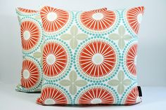 Scandinavian Swedish Vinatge Retro Tile print fabric cushion cover - Juline Coral