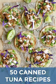 Tuna Tostadas with Chipotle Crema are full of bold flavor, made by topping crisp baked tortillas with seasoned tuna, creamy avocado, fresh red cabbage, and a spicy chipotle crema. Healthy Tuna Recipes, Tuna Fish Recipes, Canned Tuna Recipes, Healthy Dishes, Seafood Recipes, Mexican Food Recipes, Vegetarian Recipes, Cooking Recipes, Tuna Fish Sandwich Recipe