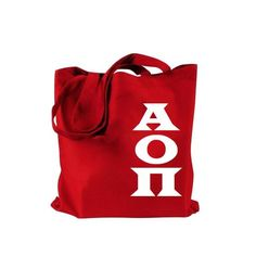 Alpha Omicron Pi tote bag with large white Greek Letters.