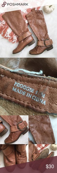"""Madden Girl 🌻 """"PEGGGIE"""" Riding Boots SZ 7 Adorable """"PEGGGIE"""" style riding boots from Madden Girl. Size 7 and fit true to size! Beautiful cognac leather and buckle detailing. These boots HAVE BEEN LOVED but still have a ton of life left in them! A few watermarks that are pictured above. Wooden heel and bottoms, very soft leather, and extremely comfortable. Feel free to make an offer! Xo Madden Girl Shoes Winter & Rain Boots"""