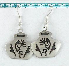 Robert Gene Navajo Kokopelli Earrings Sterling Silver Wire-style Native American Earrings, Geometric Designs, How To Make Beads, Turquoise Jewelry, Vintage Earrings, Navajo, Flute, Sterling Silver Earrings, Nativity