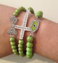 End of Year Clearance SALE Pretty Green Turquoise Silver Bling Charm Evil Eye Arm Candy Bracelet Set
