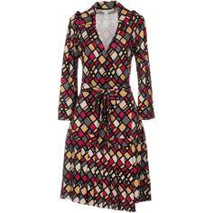 Diane Von Furstenberg Knee-length Dress ($430) ❤ liked on Polyvore featuring dresses, fuchsia, jersey dress, sash belt, silk dress, longsleeve dress and fuschia dress
