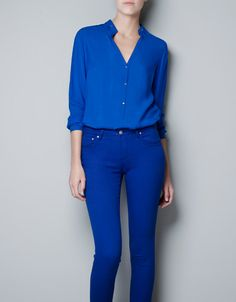MAO COLLAR SHIRT - Shirts - Woman - ZARA $59.90 - Bought this in green but wishlisting the blue too