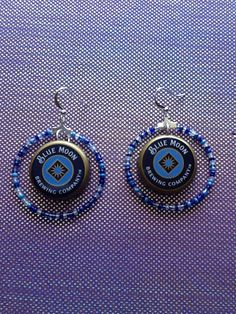 Items similar to Blue Moon Beer Bottle Cap Earrings on Etsy Beer Cap Art, Beer Bottle Caps, Bottle Cap Art, Beer Caps, Blue Bottle, Bottle Cap Earrings, Bottle Cap Jewelry, Diy Earrings, Earrings Handmade