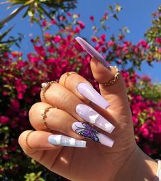 Purple Acrylic Nails, Summer Acrylic Nails, Best Acrylic Nails, Purple Nails, Blush Nails, Edgy Nails, Aycrlic Nails, Stylish Nails, Swag Nails