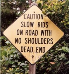 Someone should get those poor kids some shoulders. 16 Signs That'll Make Your Eye Twitch If You Care About Grammar Funny Road Signs, Fun Signs, Poor Children, Poor Kids, You Had One Job, It Goes On, Street Signs, Along The Way, Funny Memes