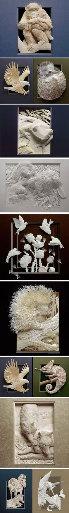 Paper art by Calvin Nicholls - Holy smokes, this guy does 3D paper art.... Beautiful!