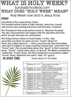 When is Holy Week? What is Holy Week? Help for teachers and Sunday school kids