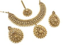 Antique Gold Indian Bollywood Necklace Tikka Earring Jewelry Jewellery Set