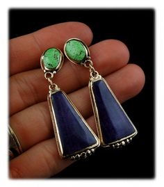 Yellow Gold Drop Earrings with Sugilite and Gaspeite