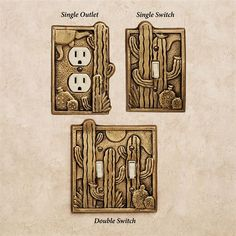 The Cactus Garden Southwest Switchplates are a charming way to add Southwestern flair to your home decor. These handcrafted aluminum switchplates. Gold Wall Decor, Gold Walls, Switch Plates, Light Switch Covers, Italian Style, Solid Brass, Antique Brass, Outdoor Gardens, Cactus