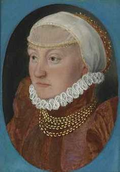 Circle of Hans Holbein the Younger (Augsburg 1497/8-1543 London)  Portrait of a lady, bust-length, in a red dress and headdress
