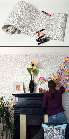 Wallpaper coloring - this would be so fun for a playroom, kids room or craft room!!!