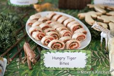 Safari / Jungle Themed First Birthday Party Part II – Appetizers, Finger Foods & Snack Ideas - Hungry Tiger Bites / Tortilla Roll-Ups